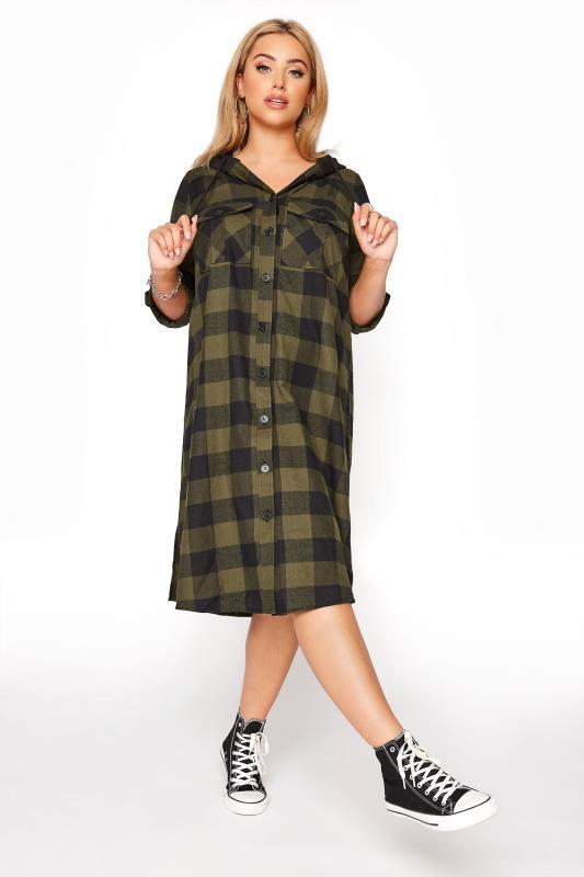 Plus Size  Khaki Checked Hooded Longline Shirt