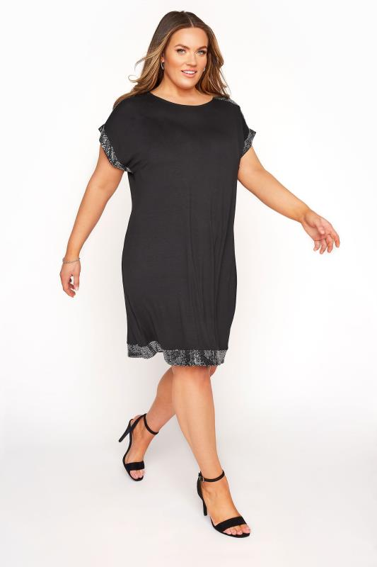 Black & Silver Sequin Trim Tunic