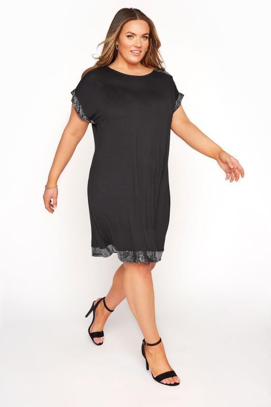 Yours Clothing Women/'s Plus Taille Noir /& Blanc Texturé Carreaux Tunique