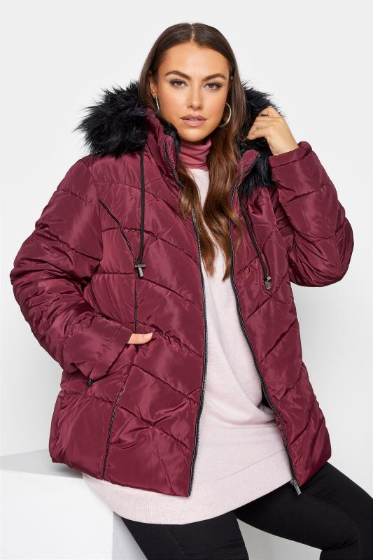 Plus Size  Red PU Trim Panelled Puffer Jacket
