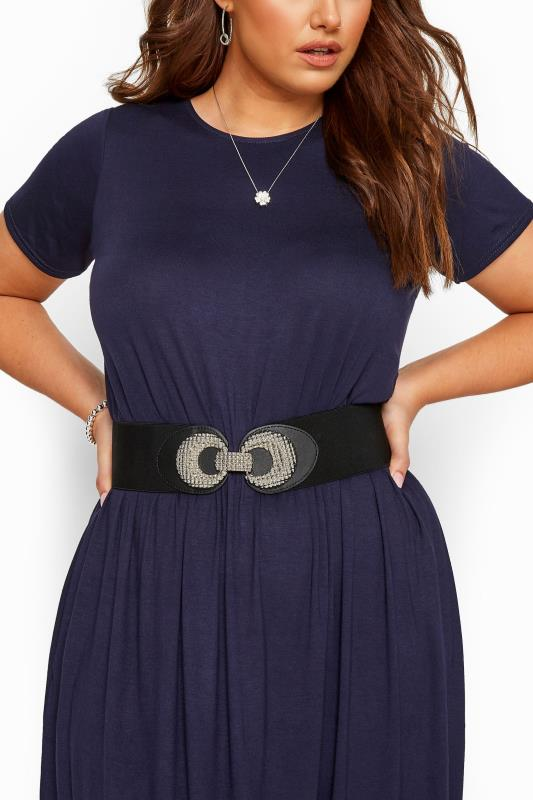 Tall Plus Size Belts Yours Black Double Circle Wide Belt