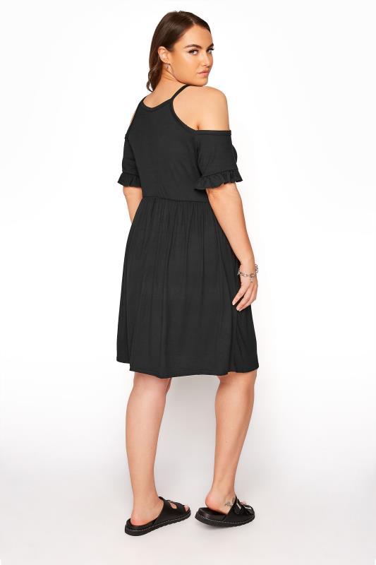 LIMITED COLLECTION Black Cold Shoulder Frill Hem Dress_C.jpg