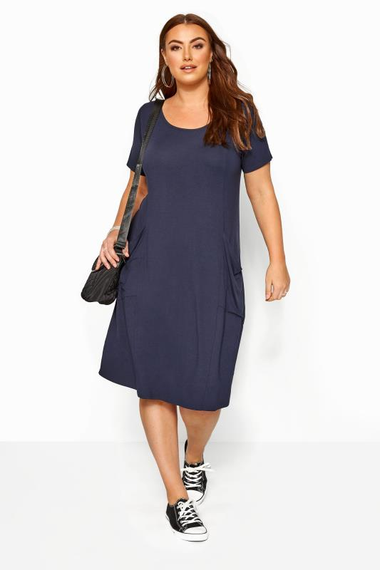 Casual Dresses Grande Taille SUSTAINABLE ORGANIC Navy Drape Pocket Dress