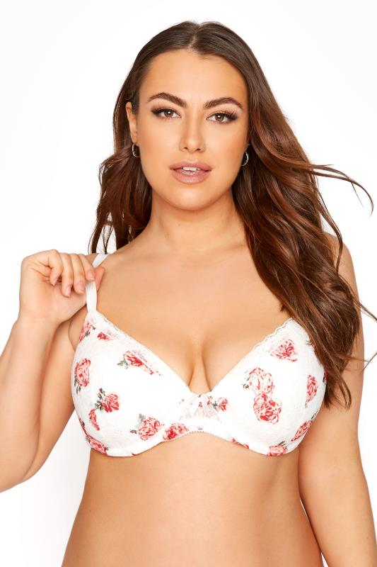 Plus Size  White Floral Lace T-Shirt Bra