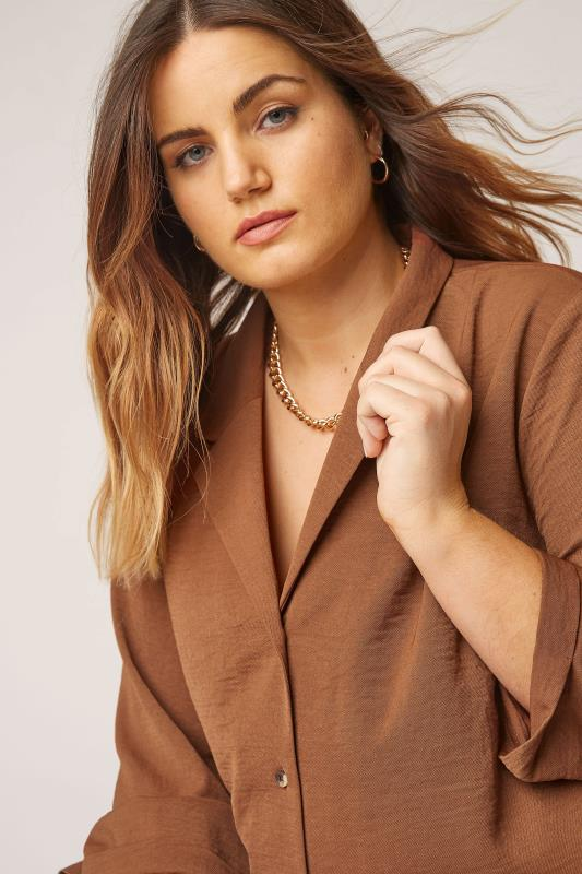 THE LIMITED EDIT Brown Open Collar Blouse_D.jpg