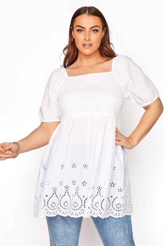 Großen Größen  White Shirred Peplum Milkmaid Top