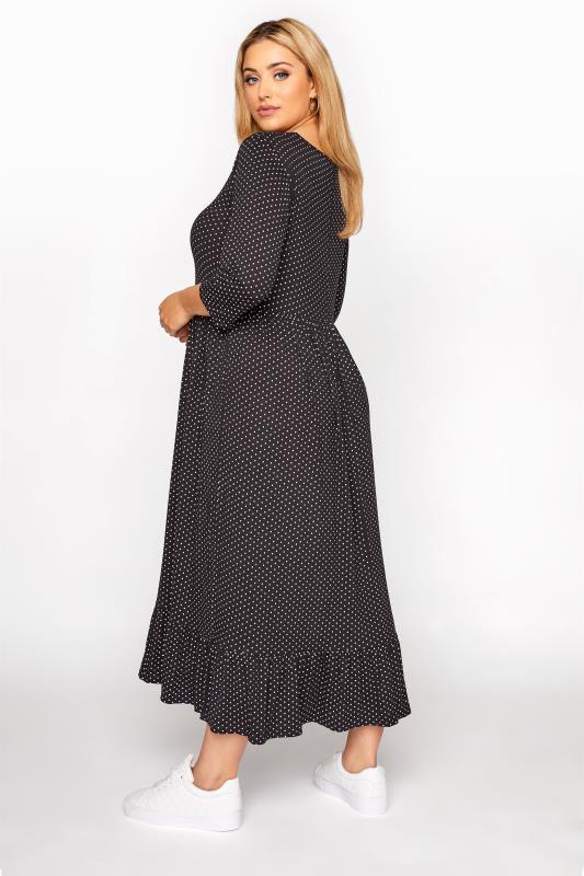 LIMITED COLLECTION Black Polka Dot Smock Midaxi Dress_C.jpg