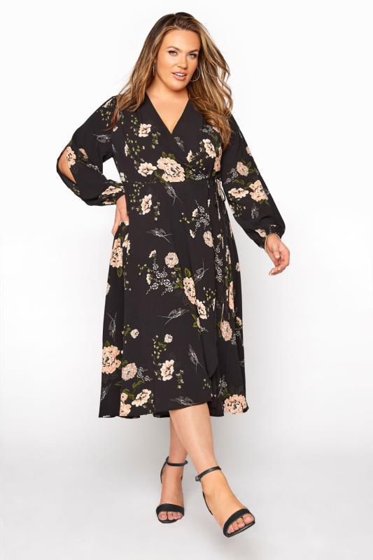 Grande Taille YOURS LONDON Black Floral Print Midi Dress
