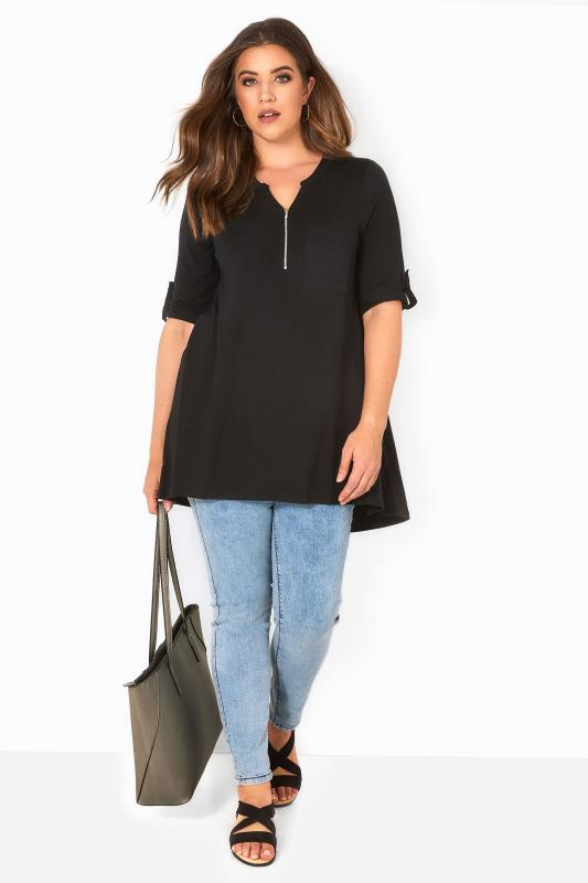 Black Zip Front Longline Top