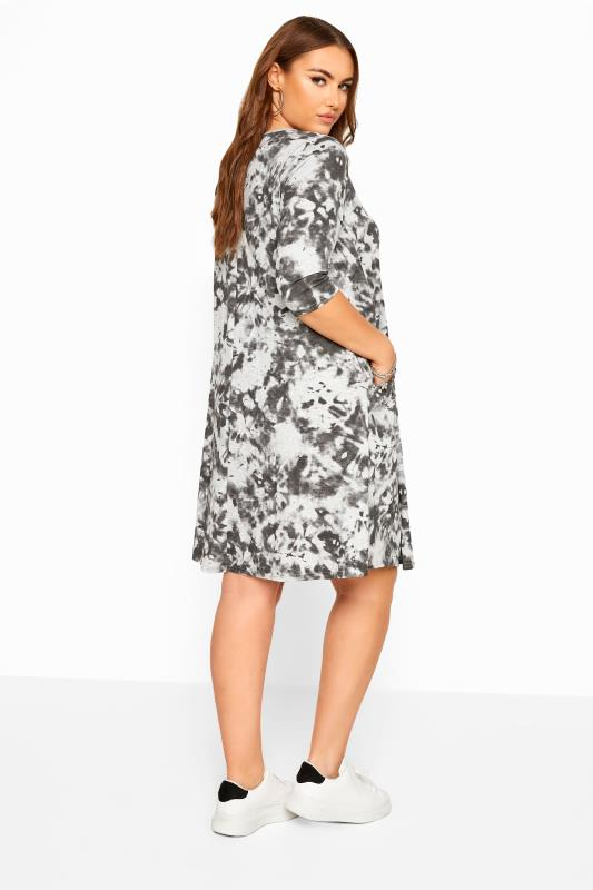 Grey Tie Dye Drape Pocket Dress