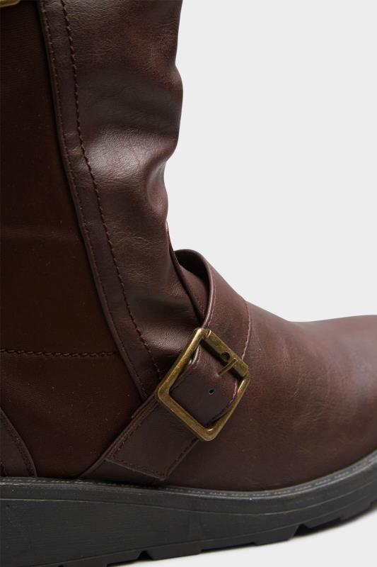 Brown Faux Leather Wedge Buckle Boots In Extra Wide Fit_D.jpg