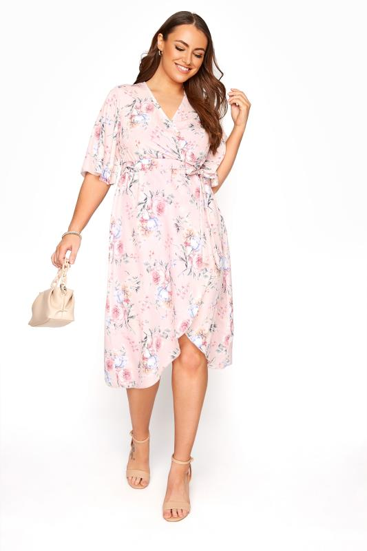 YOURS LONDON Blush Pink Floral Wrap Dress