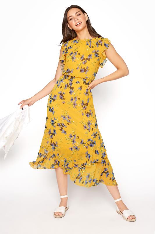 LTS Yellow Shirred Waist Chiffon Midi Dress_B.jpg