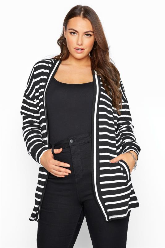 Black Stripe Knitted Cardigan