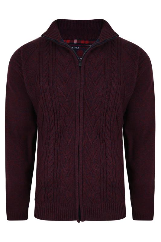 Men's  KAM Burgundy Full Zip Cable Knit Cardigan