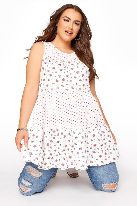 Grande Taille LIMITED COLLECTION White Floral Spot Tiered Vest