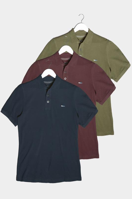 Plus Size  BadRhino Multi 3 Pack Plain Polo Shirts