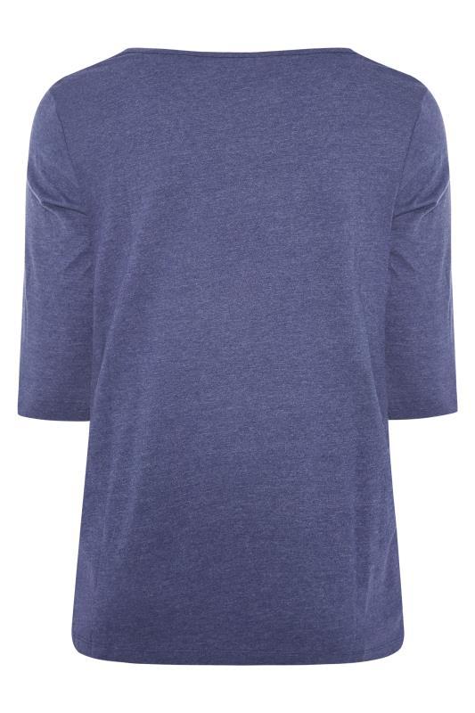 Denim Blue Marl V-Neck T-shirt_BK.jpg