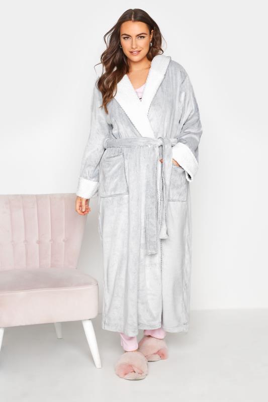 Plus Size  Grey Hooded Maxi Robe