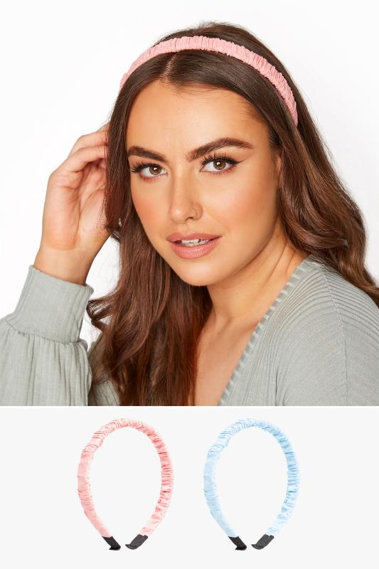Grande Taille 2 PACK Pink & Blue Ruched Headbands