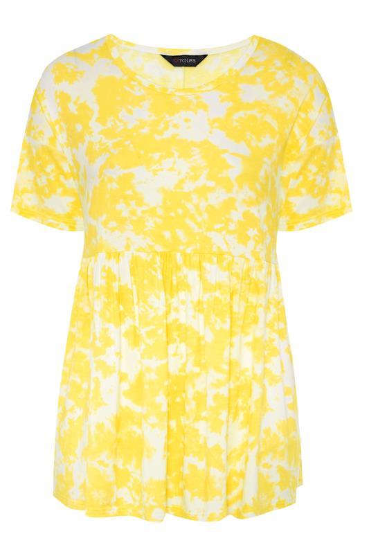 Plus Size  Yellow Tie Dye Drop Shoulder Peplum Tunic