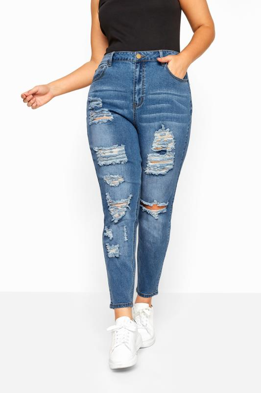 Blue Extreme Distressed Ripped Skinny Stretch AVA Jeans
