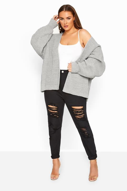 Grey Oversized Chunky Knitted Cardigan