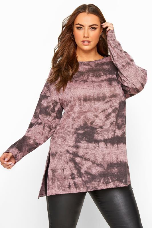 Plus Size Knitted Tops Pink Tie Dye Split Hem Knitted Top