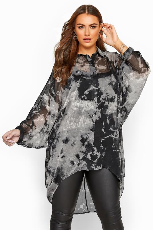 Plus Size Shirts Grey Tie Dye Chiffon Oversized Shirt