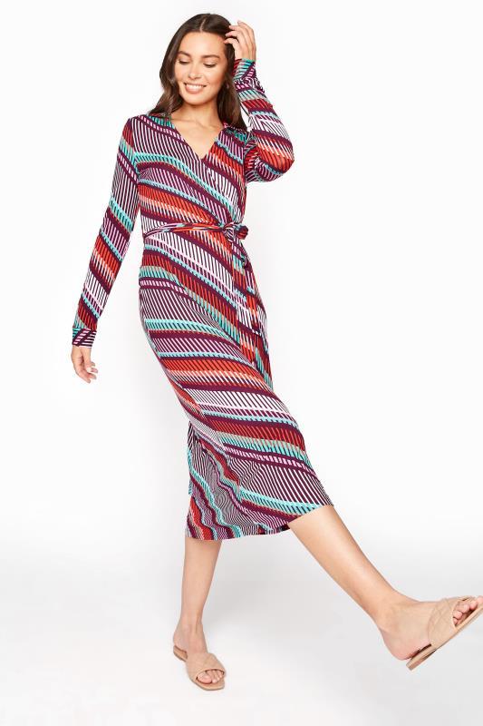 Print Collared Jersey Wrap Dress
