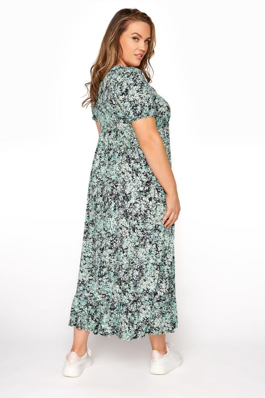 YOURS LONDON Green Floral V-Neck Frill Hem Dress_C.jpg