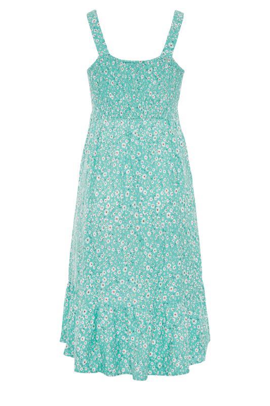 Green Floral Sleeveless Shirred Dress_BK.jpg