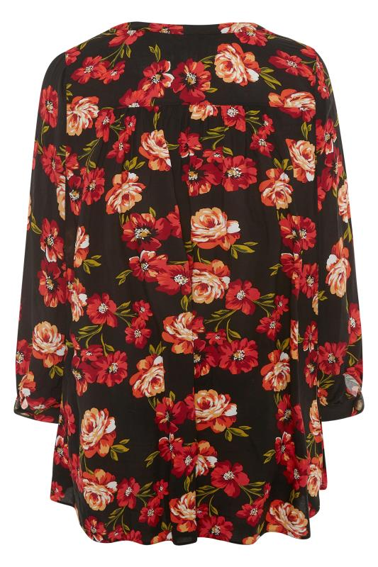 THE LIMITED EDIT Black Floral Smock Tiered Shirt_BK.jpg