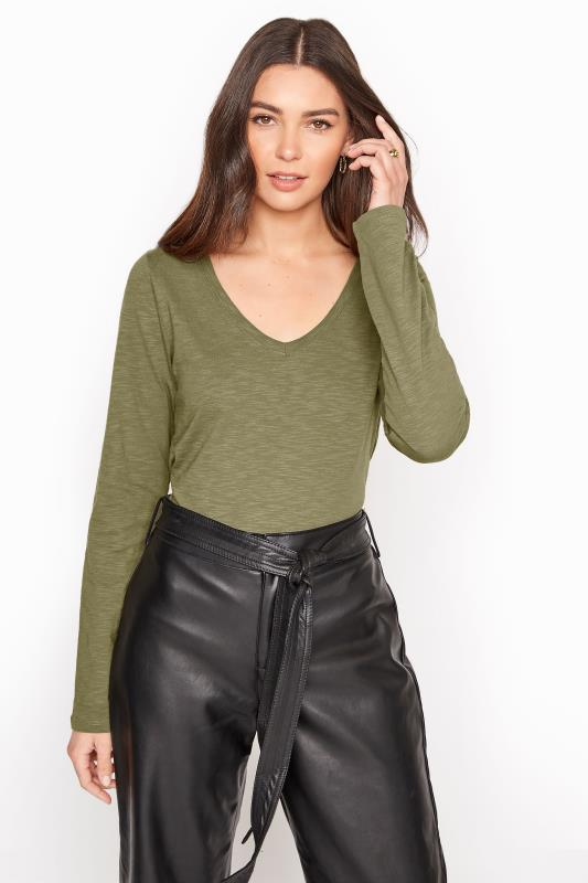 Khaki Cotton V-Neck Long Sleeve Top_A.jpg