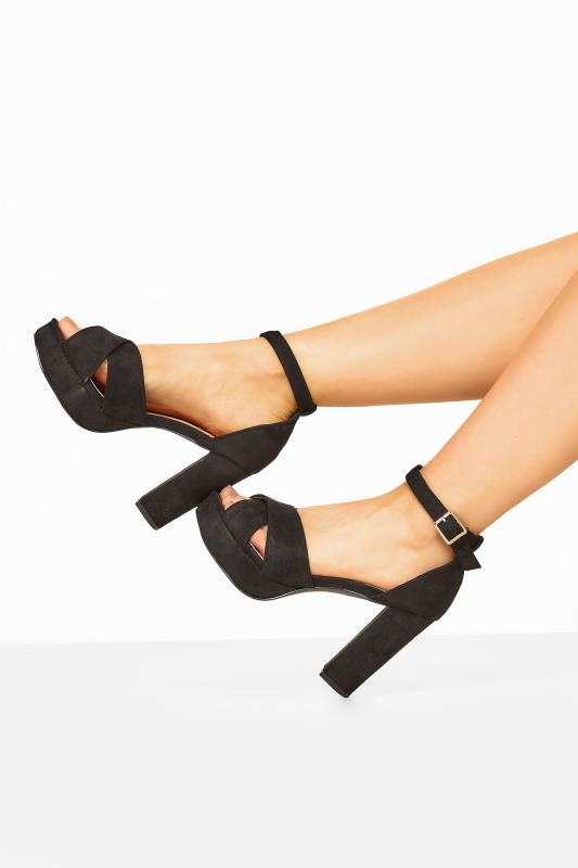 Wide Fit Heels LIMITED COLLECTION Black Vegan Faux Suede Platform Heels In Extra Wide Fit