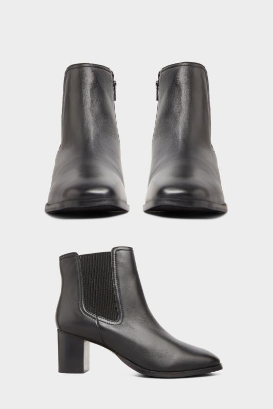 Echt leren chelsea boots met hak in zwart