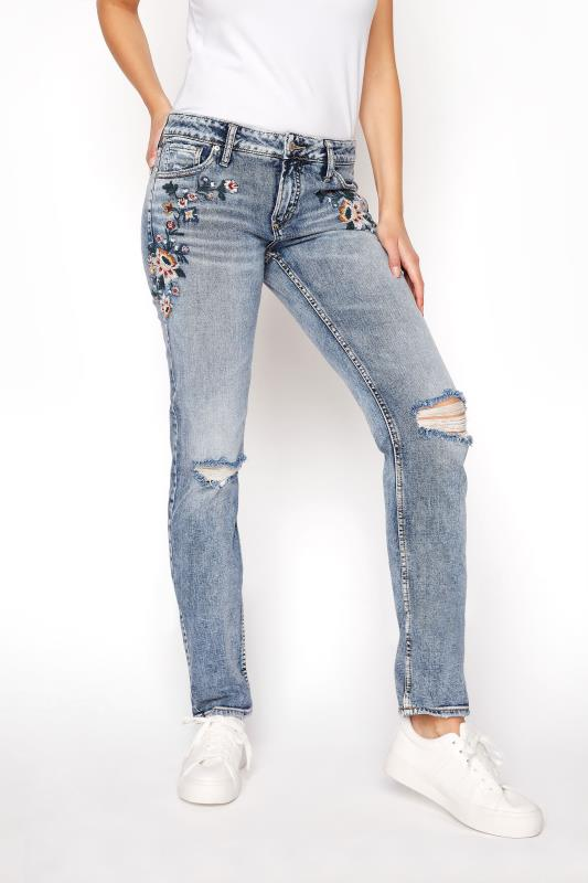 SILVER JEANS Blue Avery Mid Rise Slim Embroidered Skinny Jeans_B.jpg