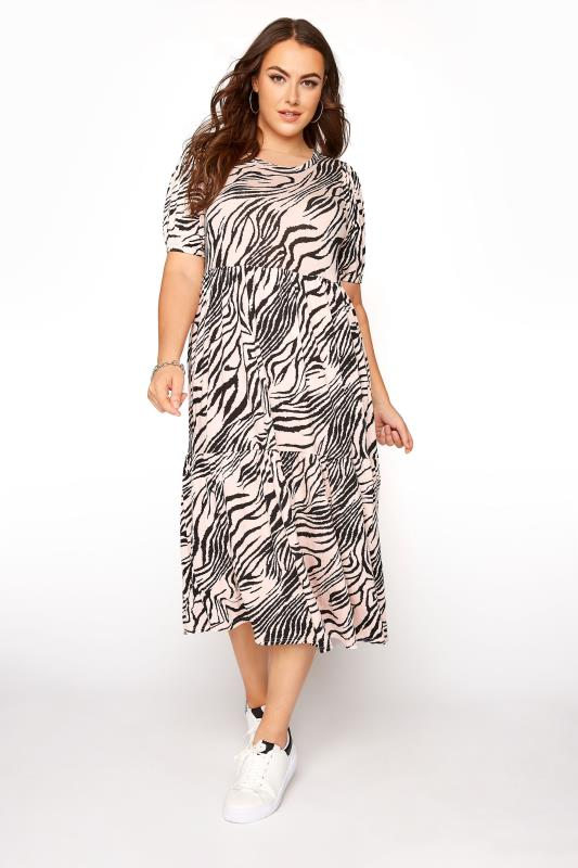 Grande Taille Pink Zebra Puff Sleeve Midaxi Dress