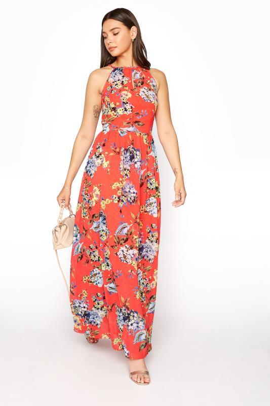 LTS Coral Floral Halter Neck Maxi Dress_B.jpg