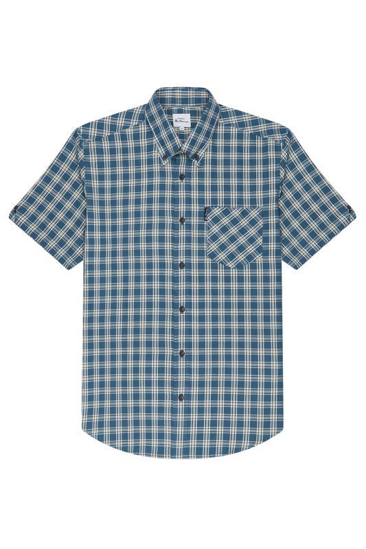 BEN SHERMAN Blue Laundered Twill Check Shirt