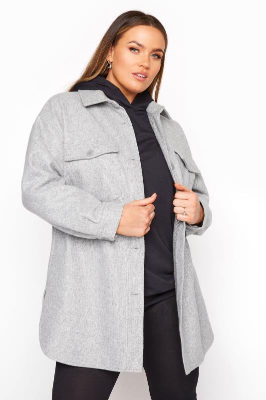 Plus Size  Grey Marl Brushed Shacket