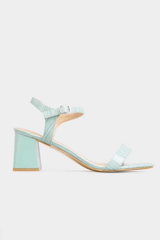 LIMITED COLLECTION Mint Green Block Heel Croc Sandals In Extra Wide Fit_A.jpg