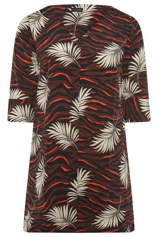 Brown Tropical V-Neck Shift Dress_F.jpg