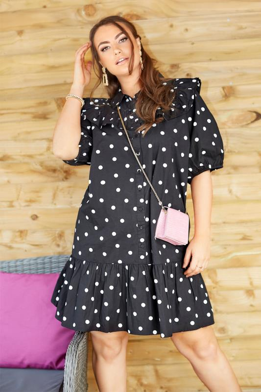 Black Frill Polka Dot Cotton Shirt Dress_L.jpg