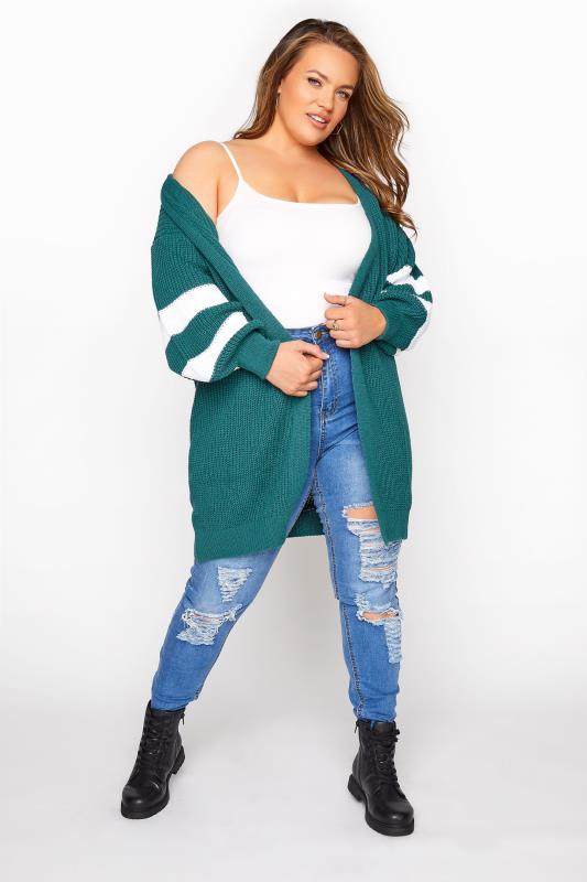 Teal Green Varsity Stripes Knitted Cardigan_B.jpg