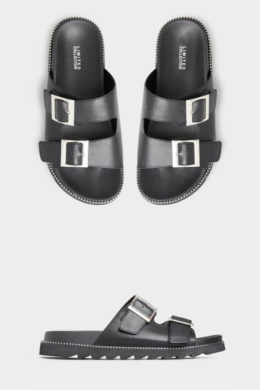 Yours LIMITED COLLECTION Black Stud Buckle Sandal In Extra Wide Fit