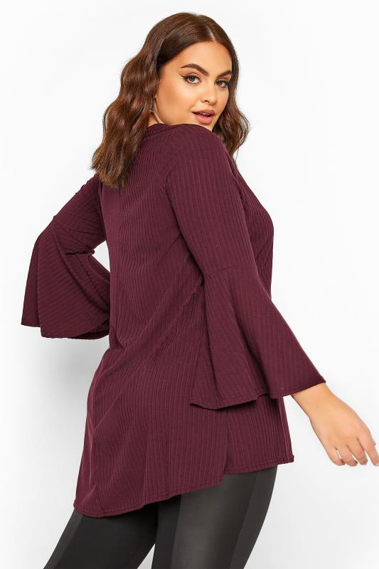 LIMITED COLLECTION Plum Ribbed Flare Sleeve Top
