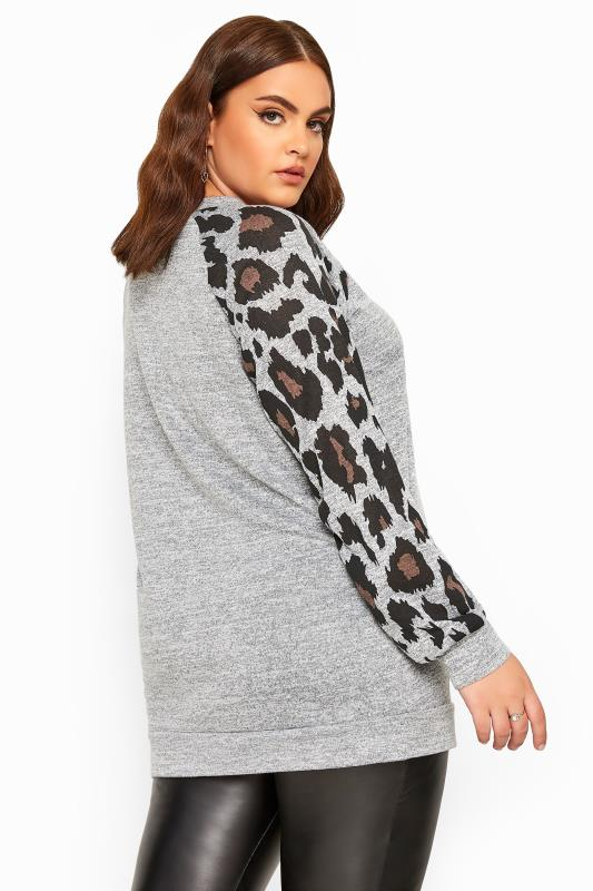 Grey Animal Print Raglan Sleeve Sweatshirt