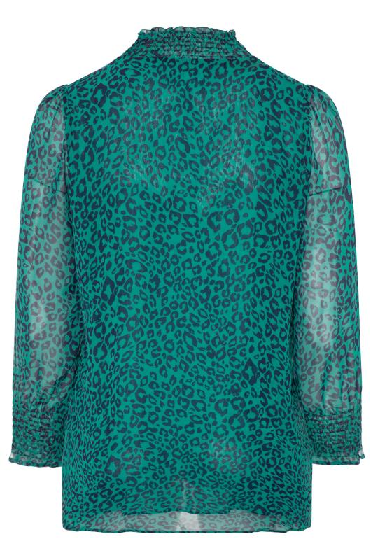 YOURS LONDON Teal Green Animal Shirred High Neck Chiffon Blouse