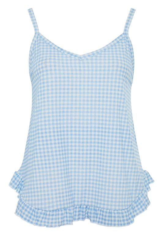 LIMITED COLLECTION Blue Gingham Ribbed Frill Pyjama Top_f.jpg